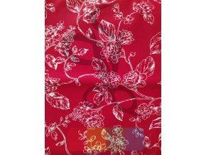 bavlněná látka - květiny na červené
