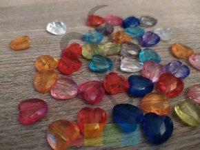 korálky broušené srdce multicolor - 5 ks