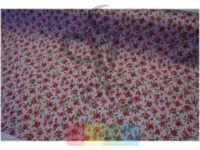 bavlněný satén - kytičky na růžové