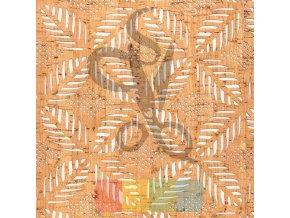 korek - korková látka hnědá s vyřezávaným vzorem