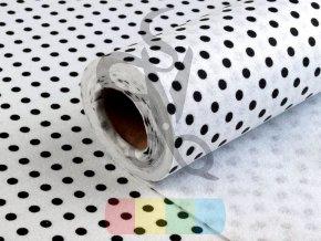 filc 1mm, šíře 41 cm - bílý s černými puntíky