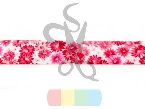 [142R 30219] [142R] Bias Binding Printed, 3 m a Bunch (Dark Pink)