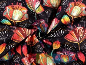 bavlna s polyesterem - vlčí máky