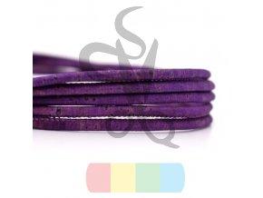 korková šňůra kulatá, průměr 3 mm - fialová