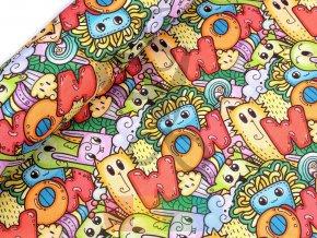 bavlna s polyesterem - pestrobarevná