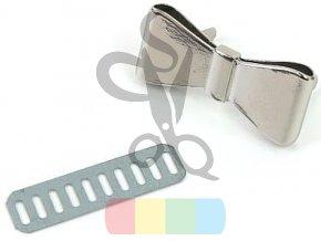 Ozdoba kokardka metalowa 40 x 18 mm kolor srebrny (2)