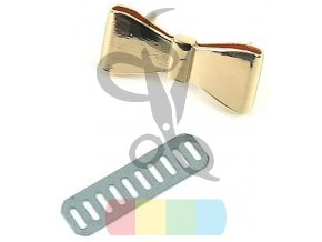 Ozdoba kokardka metalowa 40 x 18 mm kolor zloty (2)