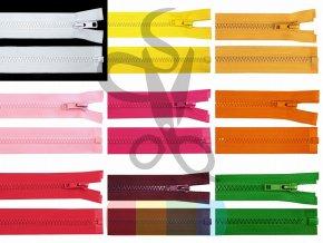 kostěný zip 60 cm, dělitelný - více barev