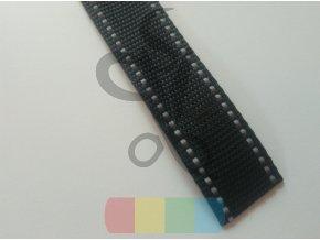 polypropylenový popruh 4 cm - černý s reflexními pruhy