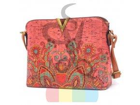 kabelka korková - růžová s kresbou