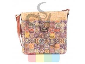 kabelka korková - crossbody s barevným vzorem