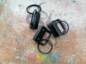 koncovka na klíčenku s kroužkem - černá - 25 mm