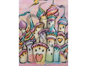 bavlna - panel - 38 x 38 cm - barevný hrad