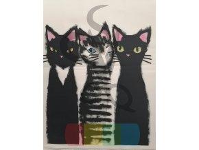 bavlna - panel - 38 x 38 cm - kočičí kámošky
