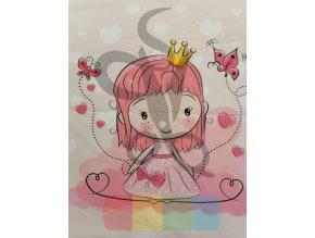 bavlna - panel - 38 x 38 cm - růžová princezna