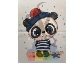 bavlna - panel - 38 x 38 cm - panda námořník