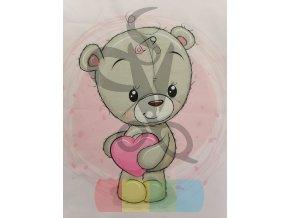 bavlna - panel - 38 x 38 cm - medvědí holčička