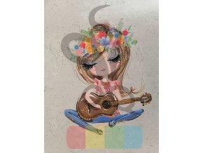 teplákovina - panel - 44 x 55  cm - děvčátko s kytarou