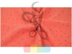 mušelín (dvojitá gázovina) - oranžová s trojúhelníčky