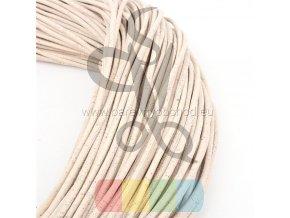 korková šňůra kulatá, průměr 5 mm - smetanově bílá