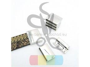 magnetické zapínání dvojité pro plochý pásek 10 mm - stříbrné