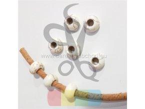 korálek pro kulatou šňůru 5 mm - bílý