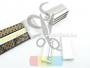 magnetické zapínání trojité pro plochý pásek 10 mm - stříbrné