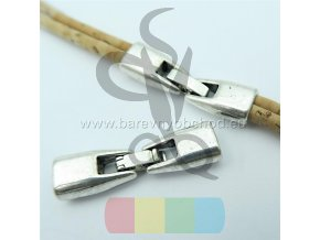 zapínání  pro dvě kulaté šňůry 3 mm - stříbrné