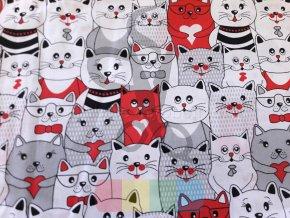 bavlněná látka - kočičky v červené