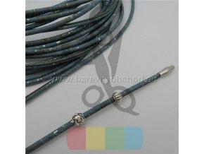 korková šňůra  průměr 3 mm - petrolejově modrá se stříbrnými kousky