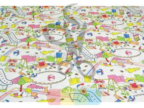 bavlněná látka - dětské hřiště barevné