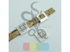 čtvereček s kytičkou pro plochý pásek 10 mm - stříbrný