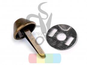 Dvounožkový hřeb (nožky ke kabelce) 12x22 mm s plíškem - staromosaz
