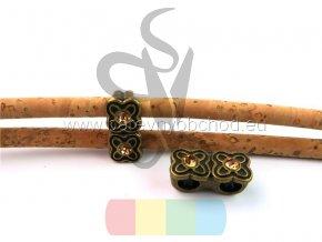 dvojitá kytička pro šňůru 5 mm - bronzová s kamínkem