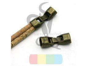 zapínání  pro dvě kulaté šňůry 5 mm - mosaz