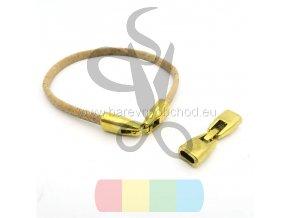 zapínání  pro dvě kulaté šňůry 3 mm - zlaté