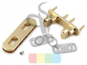 zapínání na kabelku dvojité 15x55 mm zlaté
