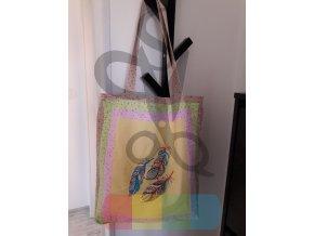 oboustranná nákupní taška patchworková s pírky