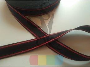 polypropylenový popruh 4 cm - černý s červenými pruhy