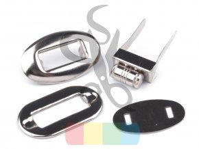 malé otočné zapínání na kabelku 20x32 mm stříbrné