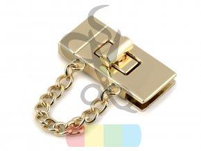 zapínání na tašku s řetízkem 19 x 42 mm zlaté