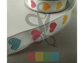 rypsová stuha 12 mm - barevná srdíčka