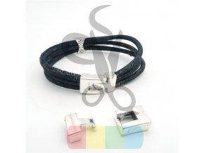 obdélníkové zapínání s háčkem pro kulatou šňůru 3 mm nebo plochý pásek 10 mm