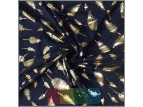 jersey metallic print blaetter dunkelblau gold 10 meter 2