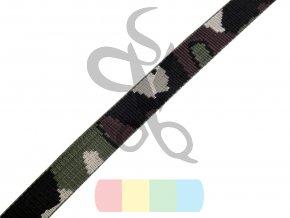 polypropylenový popruh maskáčový - 20 mm - zelenočerný