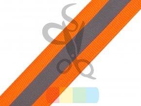 oranžová stuha s reflexní vrstvou - šíře 2,5 cm