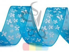 monofilová stuha s motýlky 20 mm - modrá