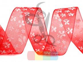 monofilová stuha s motýlky 20 mm - červená