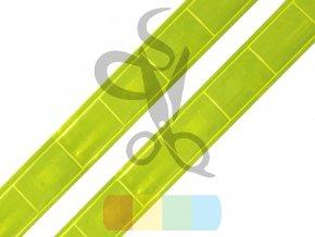 reflexní páska plastová k našití šíře 25 mm - žlutá