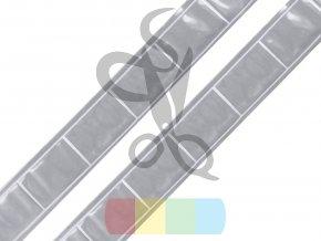 reflexní páska plastová k našití šíře 25 mm - stříbrná